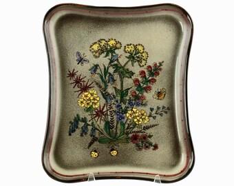 Vintage Jakob Stucki Hand Painted Scandinavian Art Pottery Tray with Wildflower Motif
