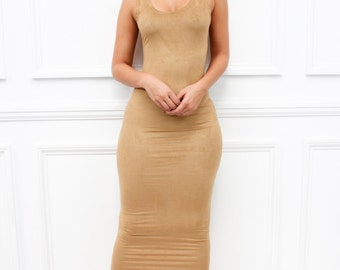 "Glamzam New Womens Ladies ""Marnel"" Sleeveless Scoop Neck Bodycon Mustard Faux Suede Pencil Midi Dress"