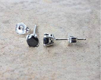 4mm genuine Black Diamond stud earrings in Sterling Silver or Gold