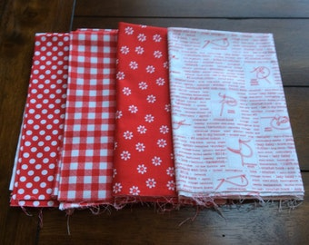 RILEY BLAKE 4 Fat Quarters RED!