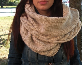 Knit scarf Cable knit scarf hand knit scarf chunky knit scarf beige scarf