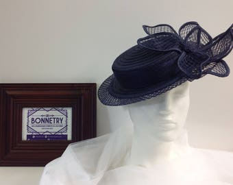 Navy Blue Straw and Sinamay Boater with Flower