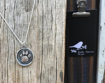 Paw Silver Wax Seal Stamp Necklace