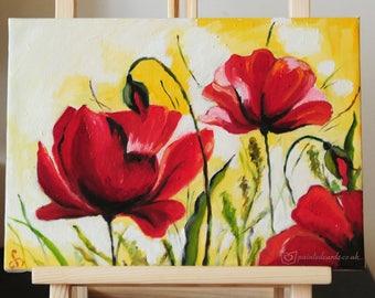 Original oil painting, poppy, Poppies oil painting