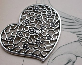 large silver metal bead shaped heart and flower 4.5x3.5