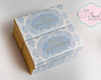 FRILLY DAMASK BAPTISM Party Printable Candy Bar Wrappers - Boy
