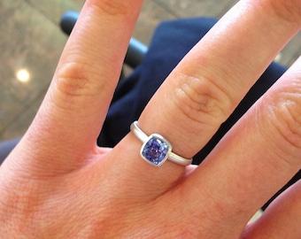 Bridal set 14k wg cushion cut ceylon sapphire