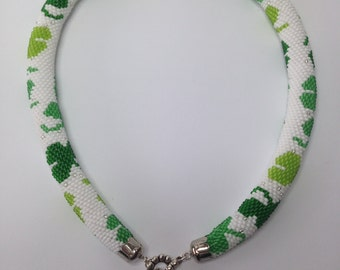 Сlover. Trefoil.Spiral bead rope. White green. Seed bead jewelry.Wrap . Green . Summer