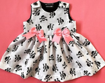 Skeletots  skull & bones dress with pink bows baby girl goth rockabilly ages 0-24m