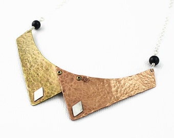 Schoolgirl Collar Necklace, Mixed Metals, 18 inch, Brass Copper and Sterling Silver