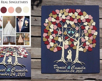 Bride and groom under the TREE OF LOVE Alternative Wedding Guest Books wedding singing book 3d Wood Customize your colors Wedding guestbooks