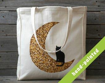 cat bag/ tote bag with pockets and zipper/ cat purse/ moon bag/ canvas tote bag/ cat lover/ cats/ eco bag/ shoulderbag/ hand bag/ painted