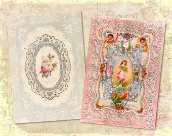 "Set of Ornate Vintage Lace Frames for Background Digital Prints in 2 - 5x7"" Format Altered Art, ATC, Scrapbooking"