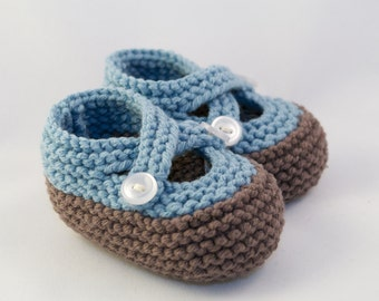 Taupe and Denim Blue Knit Baby Booties