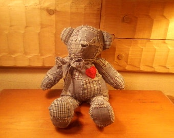 Bear Love Bear Teddy Bear homespun blue patchwork plaid with bow and crocheted heart