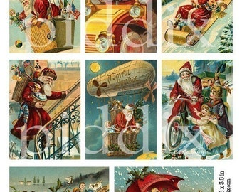 Silly Victorian Santas and Christmas Toys in 3.5x2.5 inches -- piddix digital collage sheet no. 418