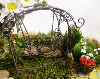 Fairy Swing, Miniature Swing, Mini Metal Swing, Miniature Furniture for Fairy Gardens, Terrariums, Miniature Gardens, and Rustic Home Decor