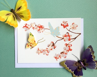 Spring card - Any occasion card - Butterfly card - blank card - get well card - wildlife card - art card - Easter card - thank you card
