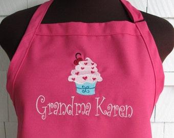 Personalized Cupcake Apron - Monogrammed Apron - Cupcake apron for Woman