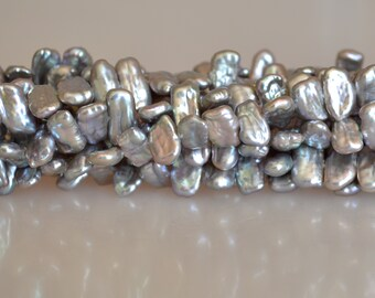 5x8-10mm Biwa Stick Freshwater Pearl Beads Silver Gray Color Center Drilled 16 inches #715