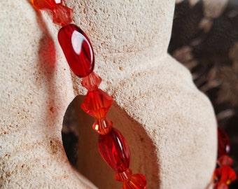 Red Hot Swarovski Bracelet, Twisted Glass, Swarovski Cystals, Perfect Gift