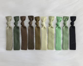 Olive green Hair ties 10 high quality No crease elastic Ponytails knotted hair ties yoga Ponytails hair accessories