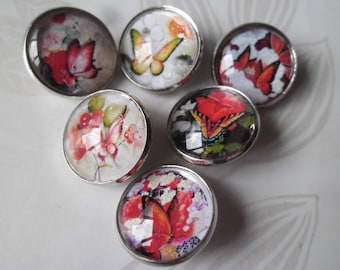 x 6 mixed snaps Butterfly/flower round glass 20 mm B silver jewelry