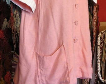 Rare 50s Maternity Outfit in Pink Cotton/Linen