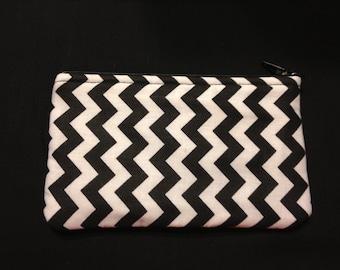 Black and White Vertical Chevron Pencil Case / Zipper Pouch, Coin Purse, or Wristlet #34