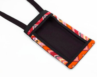 iPhone Fabric Cell Phone Pouch, Cell Phone Carrier, Smart Phone Pouch, Women's Accessories, Cell Phone Purse, Red and Orange Phone Purse