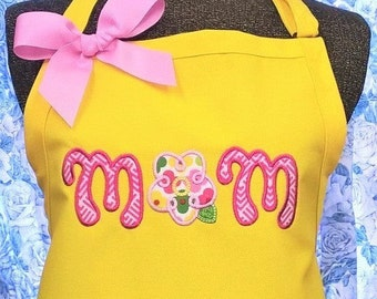Mom Apron Kitchen Apron Mother's Day or Birthday Gift Monogrammed  Gift