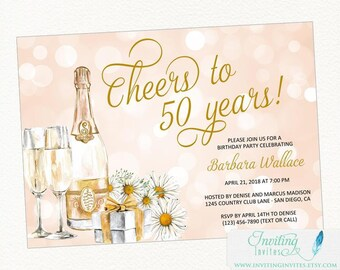 Birthday Party Invitation, Wine Invitation, Cheers to 50 years | 21st, 30th, 40th, 50th, 70th Birthday | 50th Wedding Anniversary Invitation