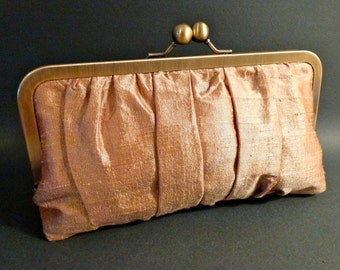 Bridal Clutch or Bridesmaid Clutch Gold Gathered Dupioni Silk SALE IN STOCK
