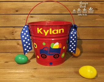 Personalized Easter Basket, Easter Bucket, Boys Easter Basket, Monogram Easter Basket, Easter Basket, Metal Easter Bucket