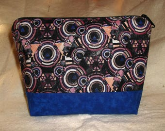 zipper pouch with art deco-ish design, cosmetic bag, toiletry bag, travel bag, organizer bag for diaper bag or purse,  makes a great gift