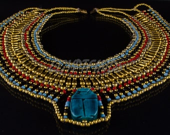 Cute Egyptian Beaded Cleopatra Large Scarab Necklace Collar