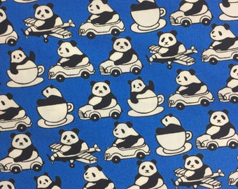 Sevenberry Blue Pandas in Teacups Fabric Sevenberry Fabric Cotton Fabric Panda Fabric Quilting Fabric Panda Fabric by the Metre