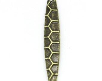 Drop pendant, bronze metal, 28mm x 5mm, set of 10