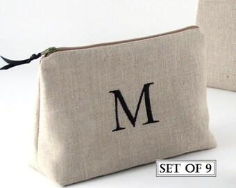 Set of 9 Monogrammed Makeup Bags, Bridesmaid Cosmetic Bag, Personalized Cosmetic Bag, Bridesmaid Clutch, 9 Bridesmaid Gifts, Wedding Bag