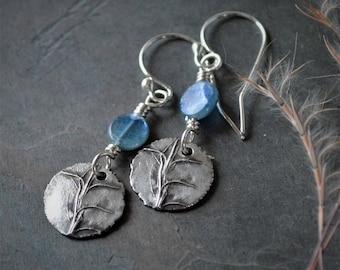Little Bluestem Prairie Earrings in Sterling Silver with Blue Kyanite Gemstones