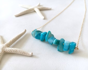 Turquoise Blue Freshwater Shell Bead Bar Necklace, 14kt Gold Fill or Sterling Silver