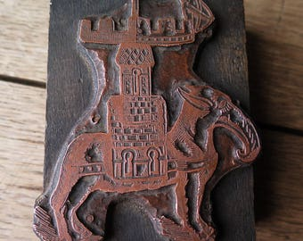 An antique engraved copper printing block for a Persian art book