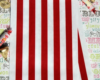 100 Red Stripe Party Favor Bags, Red Stripe Wedding Favor Bags, Red Stripe Candy Bags, Popcorn Bags, Cookie Bags, Carnival Favor Bags,