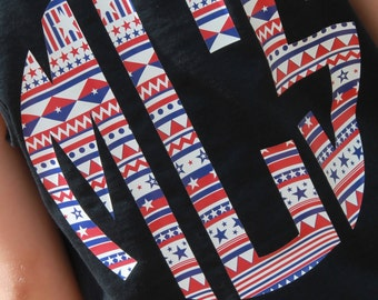Star Spangeled Pup Large Monogram Tank, Patriotic Tank Top, Patriotic Aztec, Patriotic Dog, Aztec Monogram, Girls Monogram Tank, Summer Tank