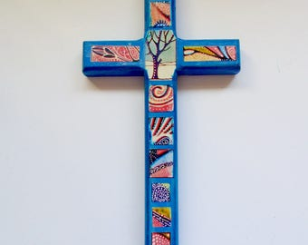 Decorative Wood Cross,Boho wood cross, Decorative wall art, Decorative wall cross