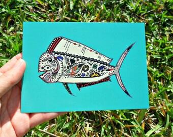 Postcard Teal Mahi Mahi Animal Art