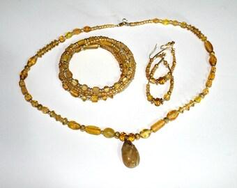 Yellow Beaded Necklace Set,Yellow Glass Bead Necklace Set,Yellow Glass Bead Gold Memory Wire Bracelet,Yellow Glass Bead Gold hoop Earrings