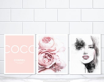 Set of 3 Coco Chanel Blush Pink Peonies and Amelie Watercolour Poster Prints - Coco Chanel Pink Peony Watercolour