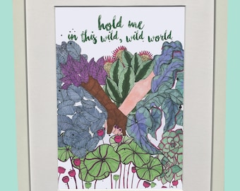 Hand-drawn, colourful A4 Hold Me print on 300gsm paper.