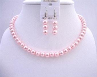 Ensemble de collier de perles roses 16 pouces abordable demoiselle d'honneur cadeau gratuit expédition aux USA